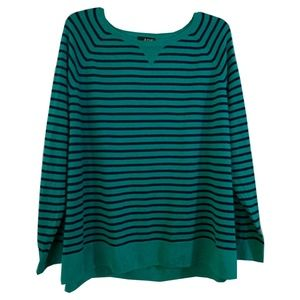 Ladies Plus Stripped Light Weight Sweater